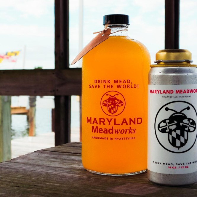"Maryland Meadworks growler with flag for ""What Is Mead, Anyway?"""