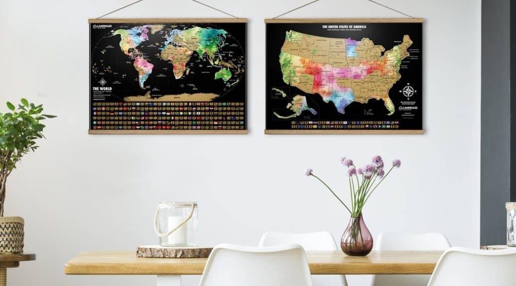 Landmass maps hanging up