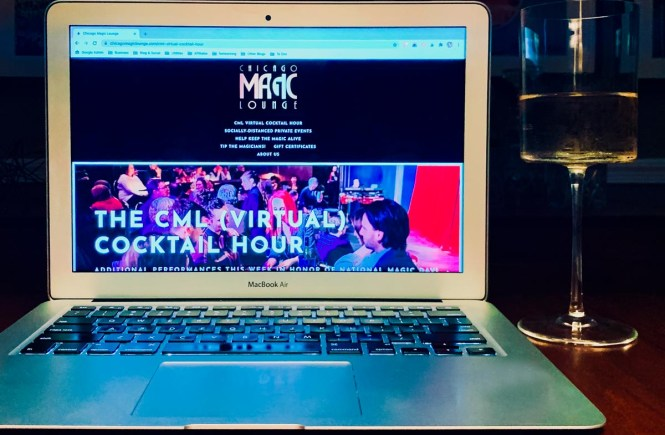 Chicago Magic Lounge's virtual magic show homepage with wine