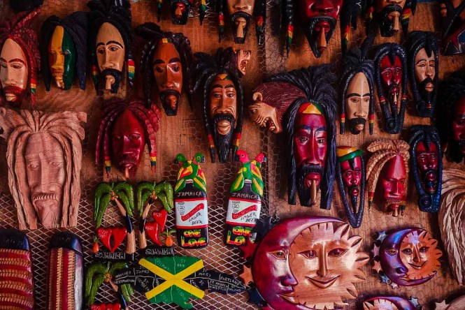 Masks at a market in Jamaica, one of the best Caribbean islands