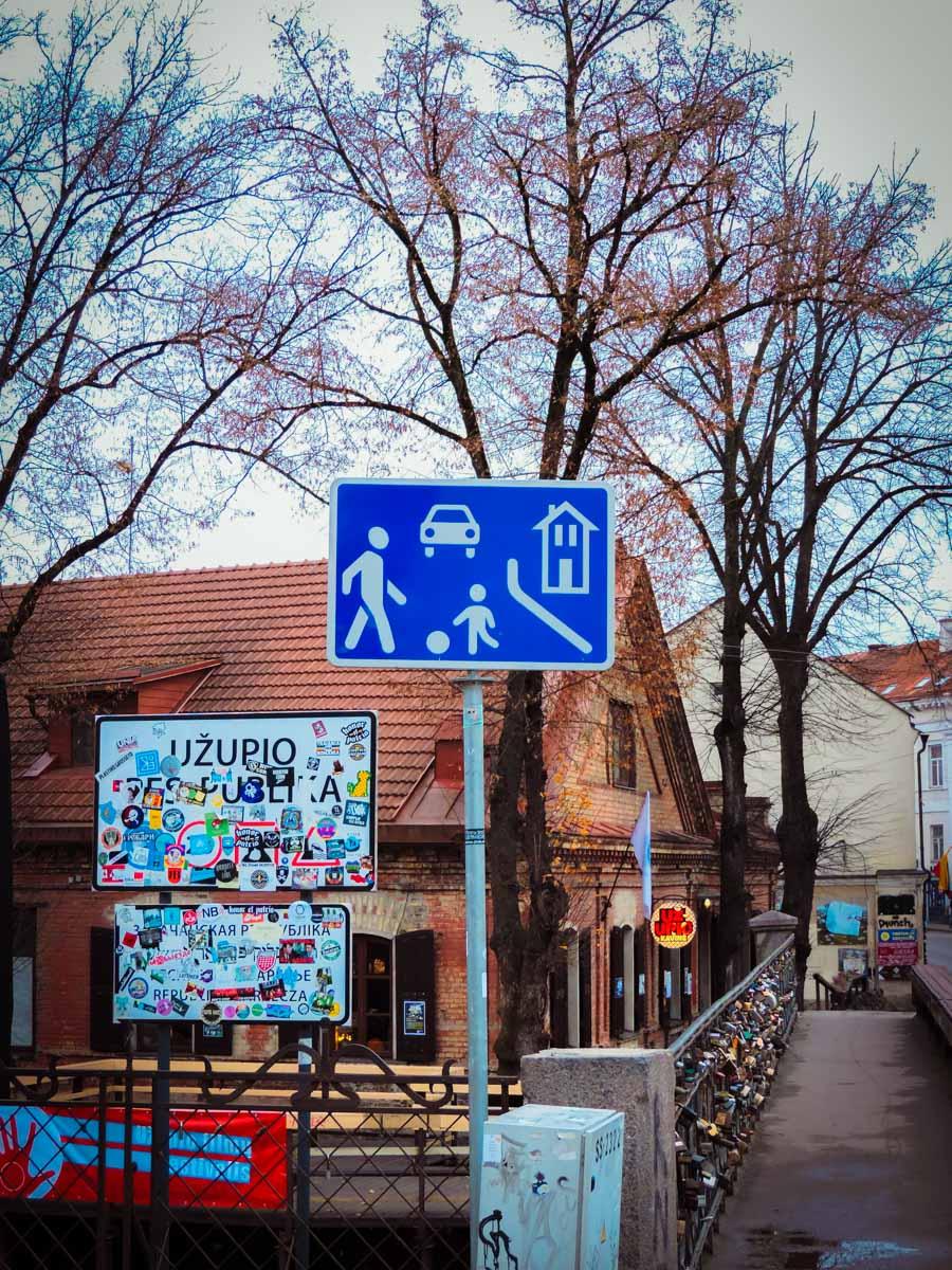 Bridge to Uzupis neighborhood in Vilnius, Lithuania