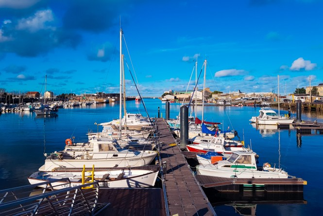 Boats docked in Cherbourg, France
