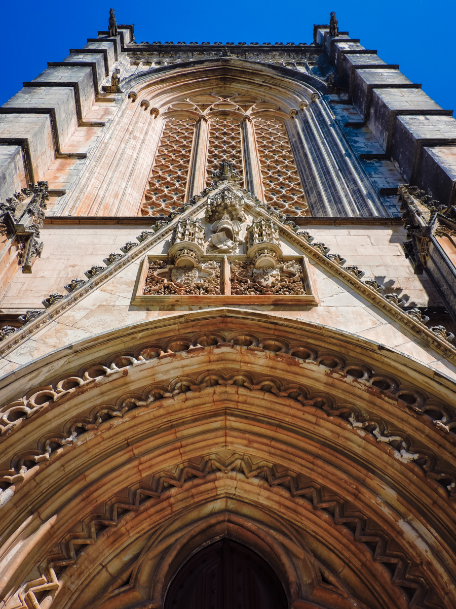 The ornate door of the Batalha Cathedral