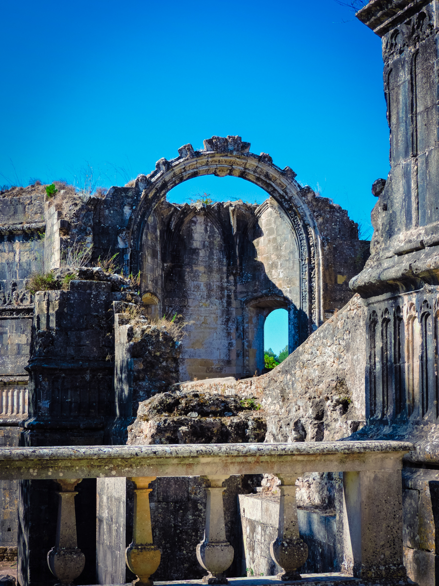 Old ruins outside Tomar's Convent of Christ Monastery