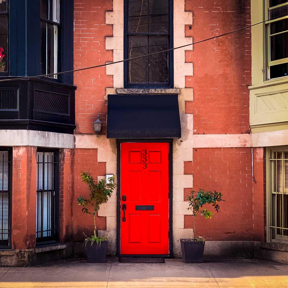 Cheery bright red door in downtown Savannah