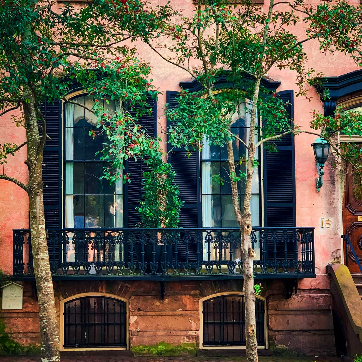 Picturesque details on a historic home in downtown Savannah