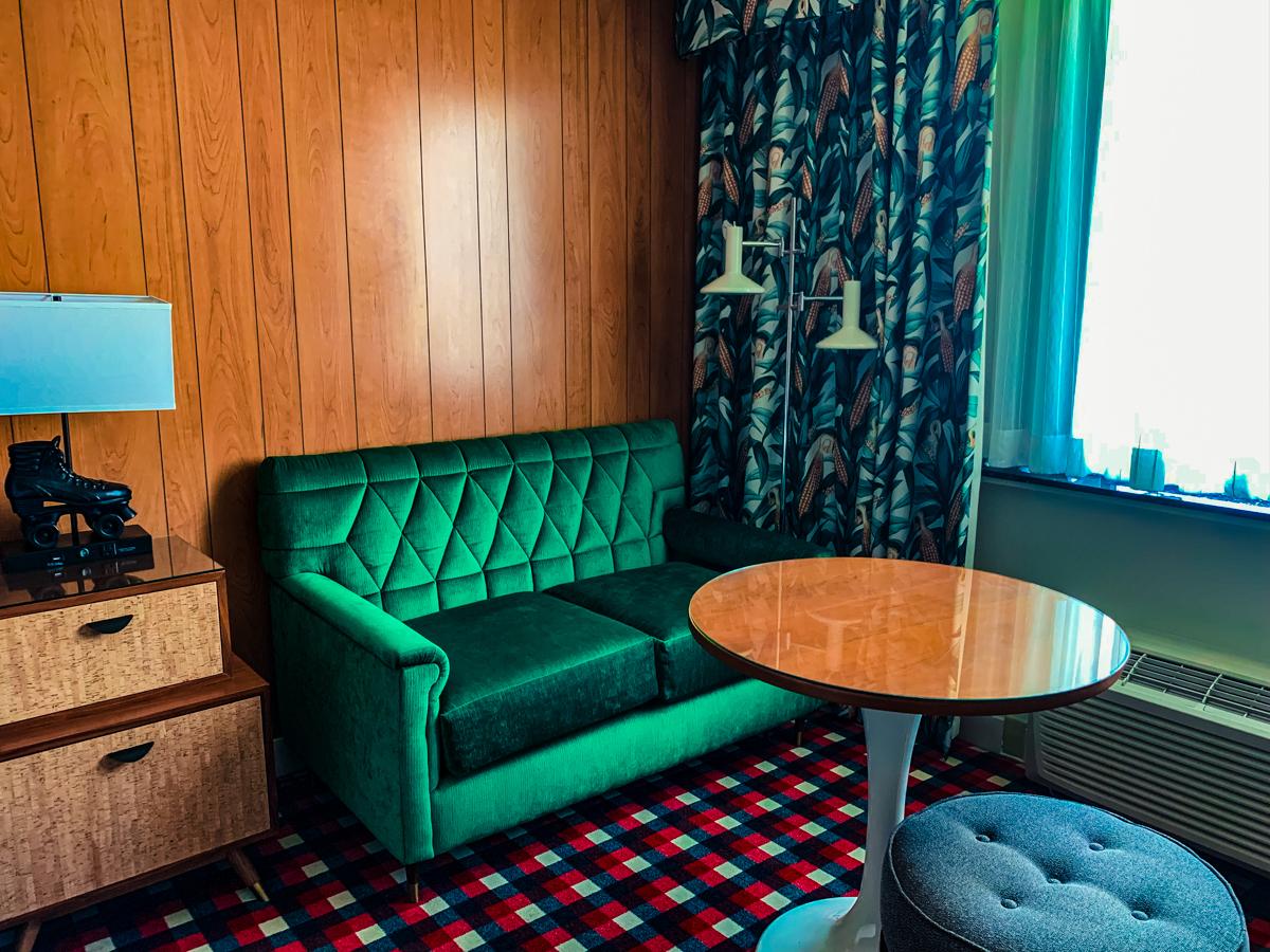 Lounge corner of the Graduate Lincoln hotel room