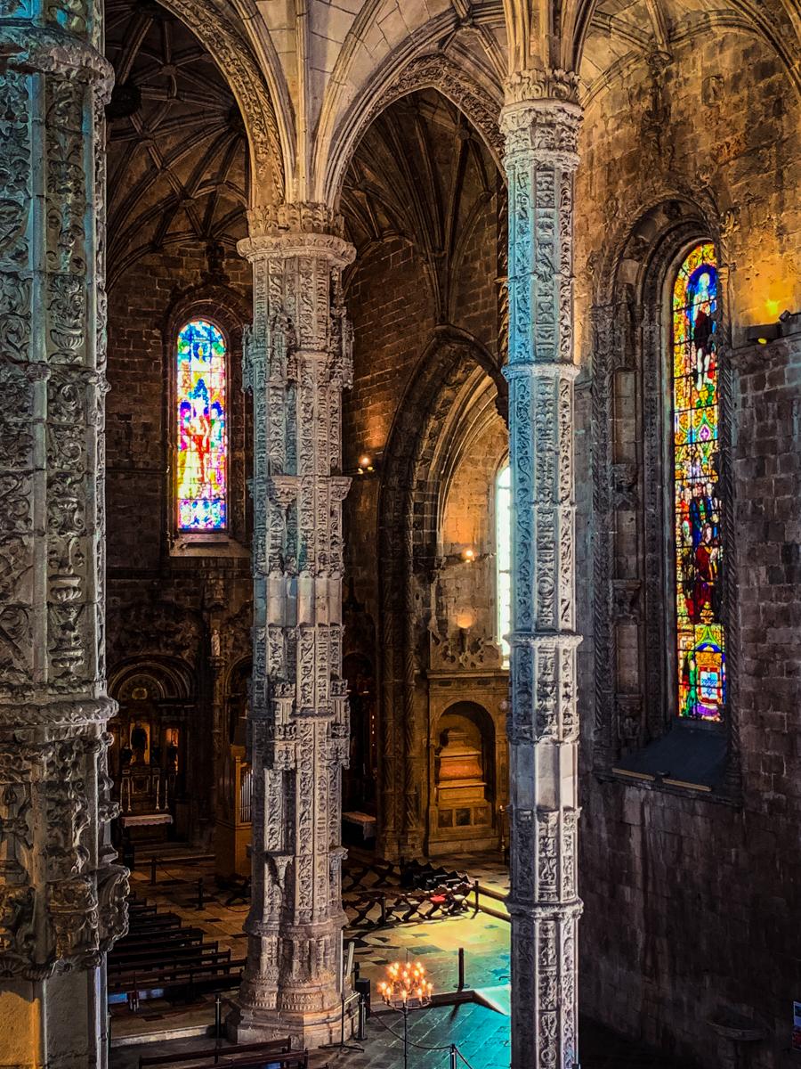 Ornate columns inside Belem's Jeronimos Monastery