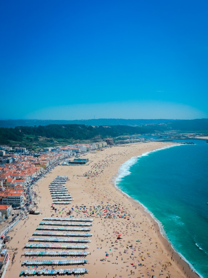 Viewpoint of the aqua surfing waters of Nazare, Portugal