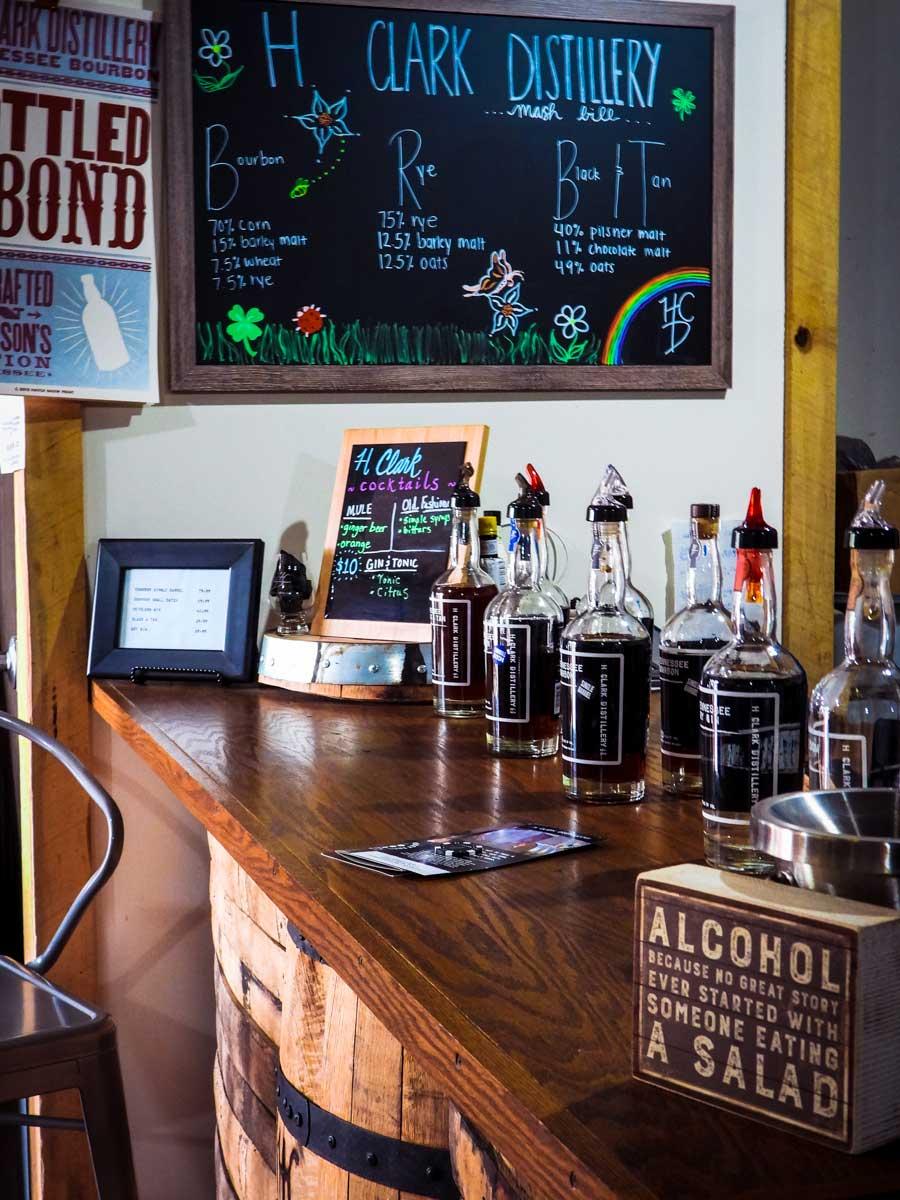H Clark Distillery bar