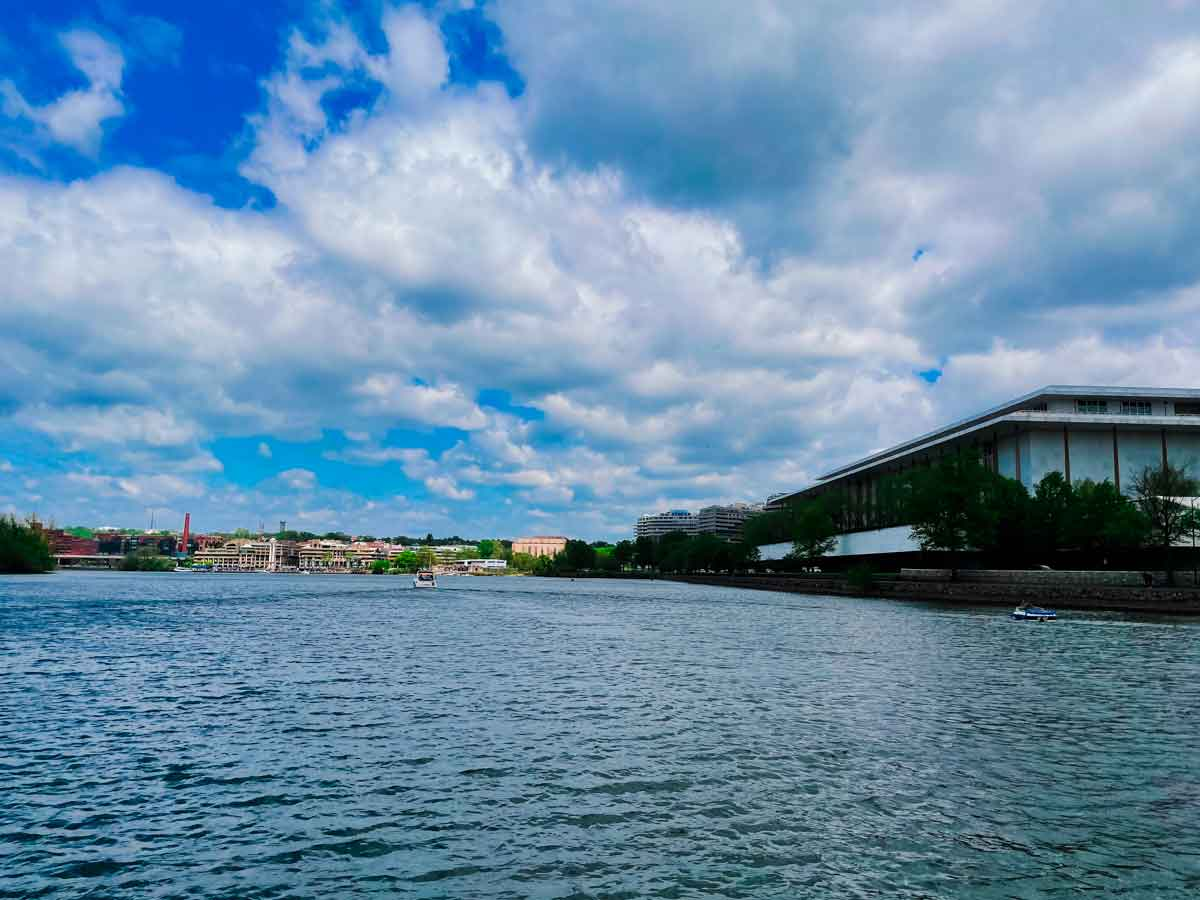 jfk performing arts center from the water