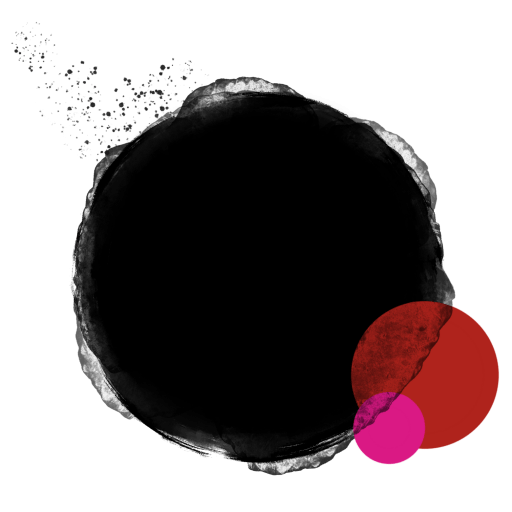 CGDS Logo is three circles of different sizes - black, red, and hot pink, with blurry edges, overlapping, and a bit of a splatter to show movement