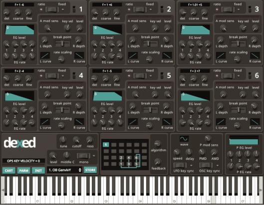 dexed FM plug-in instrument
