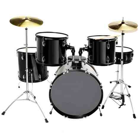 LAGRIMA 5 Piece Full Size Drum Set for Adult with Stand, Cymbals, Hi-Hat, Pedal, Adjustable Drum Stool and 2 Drum Sticks
