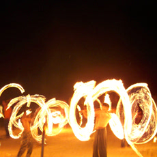 Fire twirlers on Hat Rin Beach