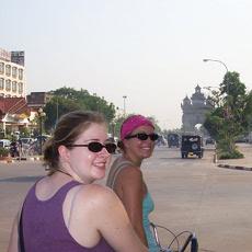 We rented bikes to explore Vientiane.