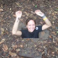 Small entrance/exits of the Cu Chi Tunnels