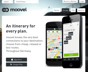Moovel is a cool, easy to use app that shows the most efficient routes for your trip