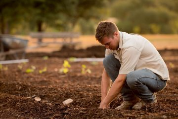man in white shirt planting at daytime