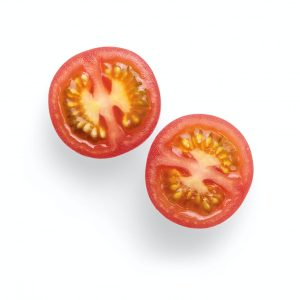 2 sliced tomato on white surface