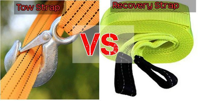 Difference between a recovery strap and a tow strap