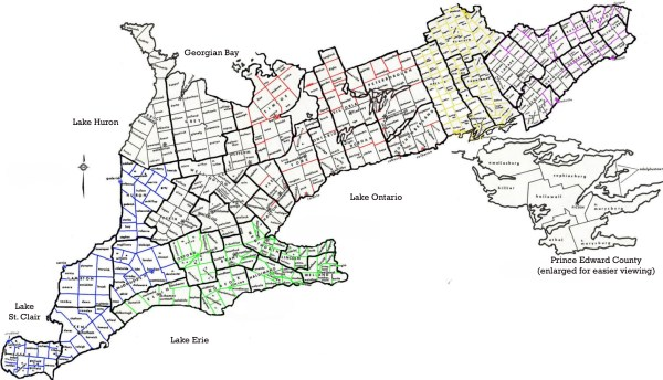 Ontario Map including Township and County boundaries
