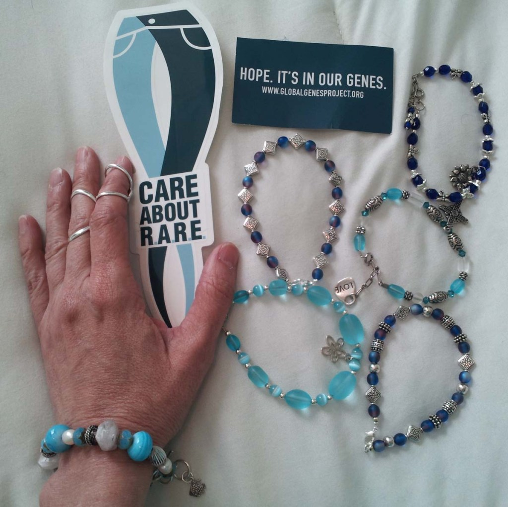 Lisa Auerbach, battling Ehlers-Danlos Syndrome (EDS) made these bracelets to show her support for others with a rare disease.