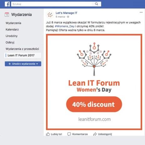 Projekt grafiki na Social Media na wydarzenie Lean IT Forum 2017