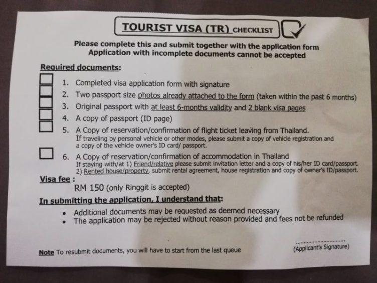 Thai visa in Penang checklist