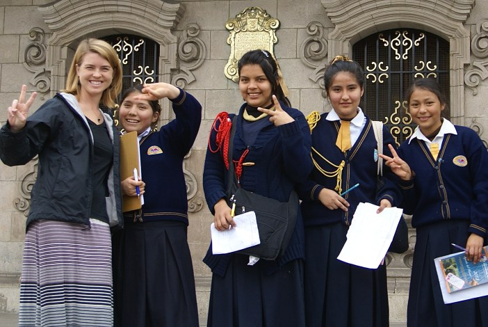 A warm welcome: students in Lima stopped us in the Plaza Mayor to ask us questions for an English class assignment.
