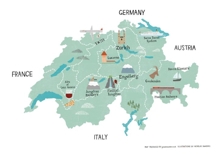 Cute Map of Switzerland