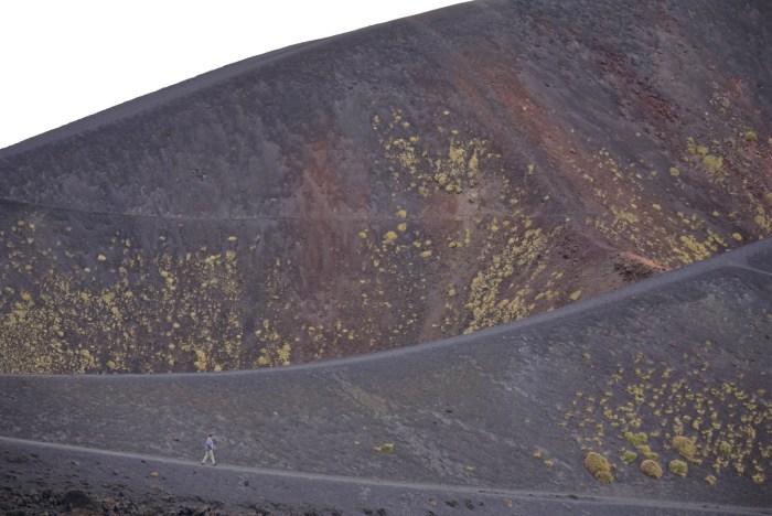 Etna crater hiker