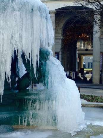Zurich Frozen Fountains Milchbar Courtyard Lion