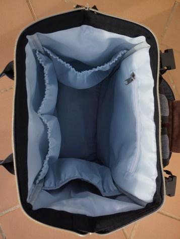 Anchored East Diaper Backpack inside