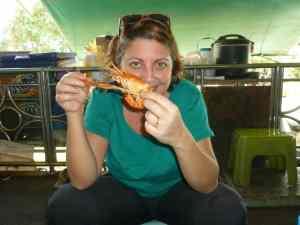 Karen enjoying the local food!