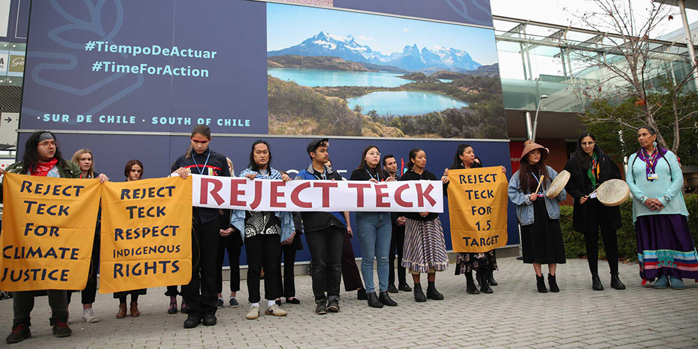 Image result for picture indigenous youth at COP25 reject Teck