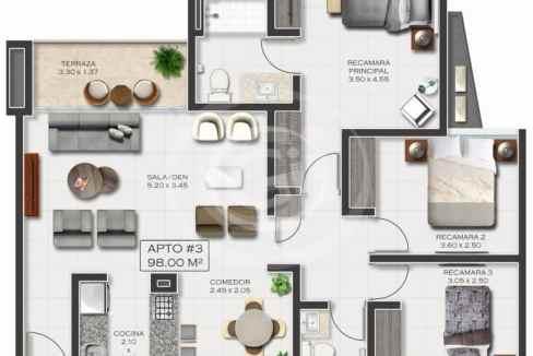 21. Plano Mod 03 98 m2. Costa del Este Pijao T100