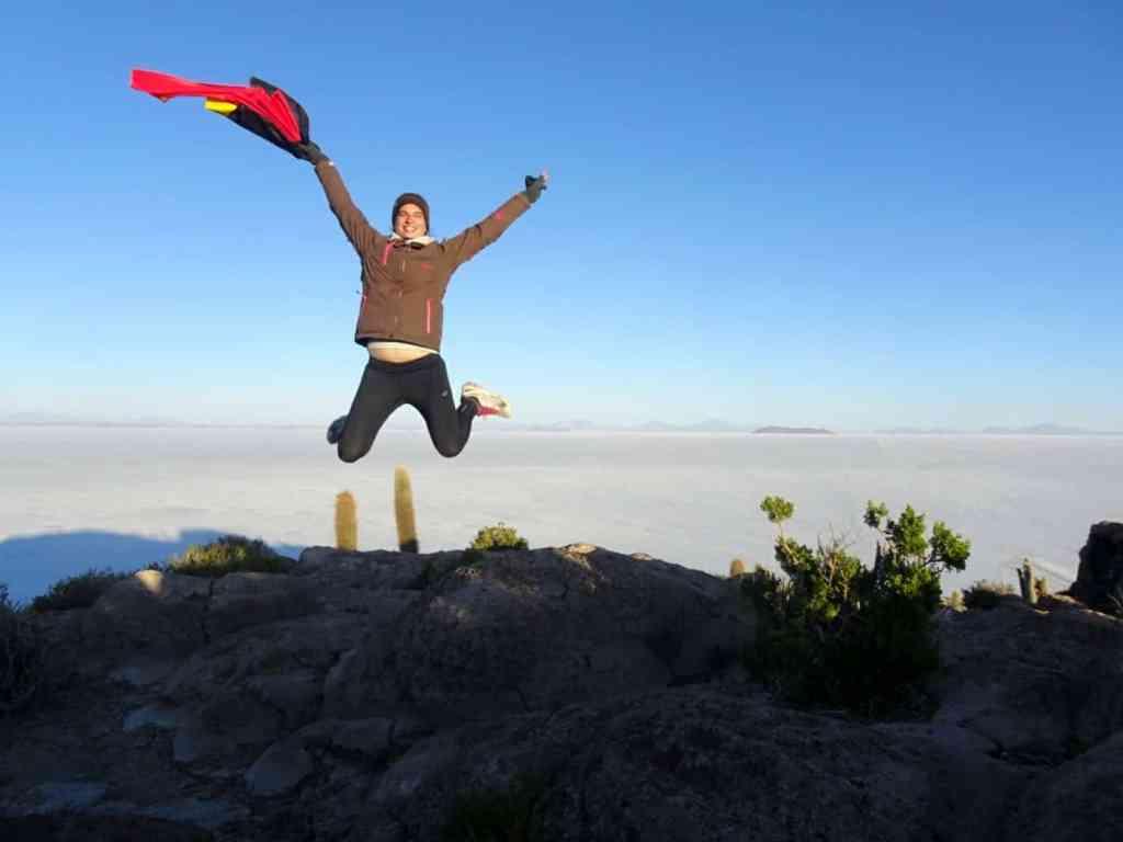 Jumping in the air before the Salar de Uyuni in Bolivia