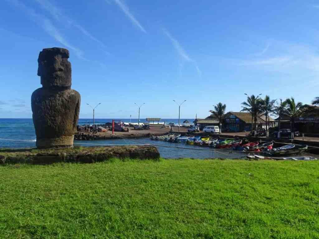 Moai Hanga Roa Harbour Easter Island