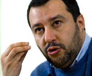 Italy's Northerm League party leader Matteo Salvini speaks during a press conference in Rome,  Dec. 10, 2014. (AP Photo/Domenico Stinellis)