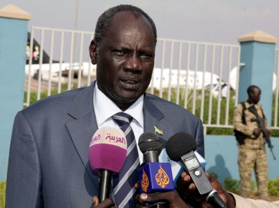 South Sudan Minister of Information Michael Makuei speaks to reporters in Juba in January 2014. (EPA/Phillip Dhil)