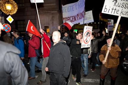 Joining a Pegida march in Munich was far-right political figure Karl-Heinz Statzberger, who was previously convicted in a 2003 plot to bomb a synagogue (Michael Tranmer/24mm Journalism)