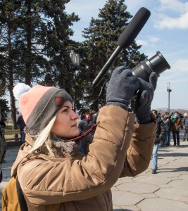 Journalist Kateryna Markova said she had long awaited the fall of the statue. (Frank Follwell)