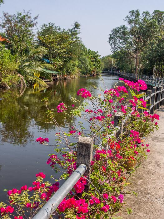 Walking along the canals near Bang Naam Phung Floating Market