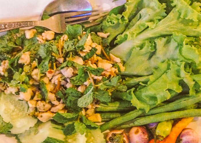 Laap Larp Larb chopped chicken or meat salad is a traditional foods from Laos