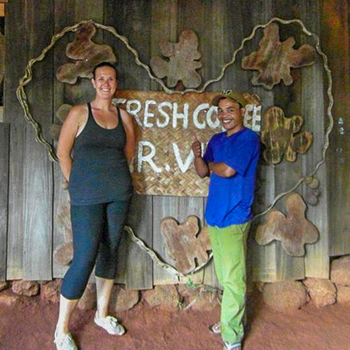 Mr Vieng and I on his coffee farm in Laos
