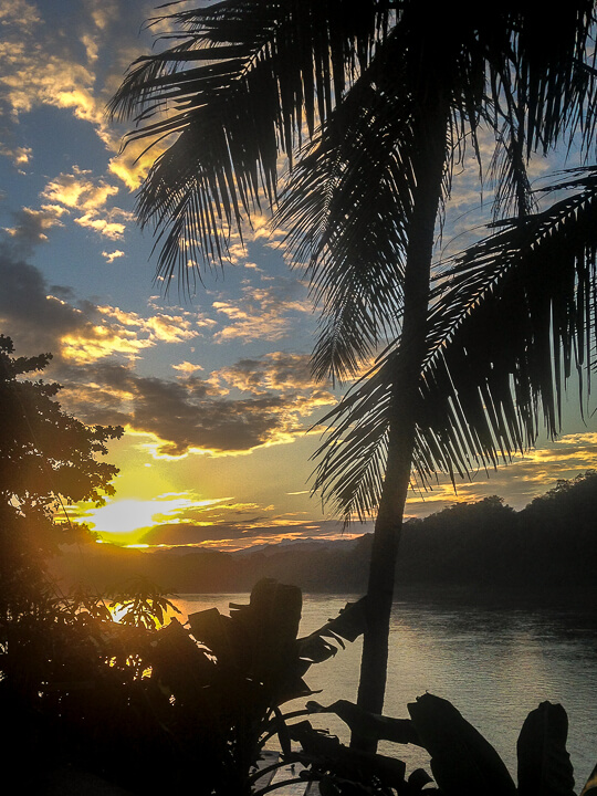 sunset mekong river luang prabang central laos