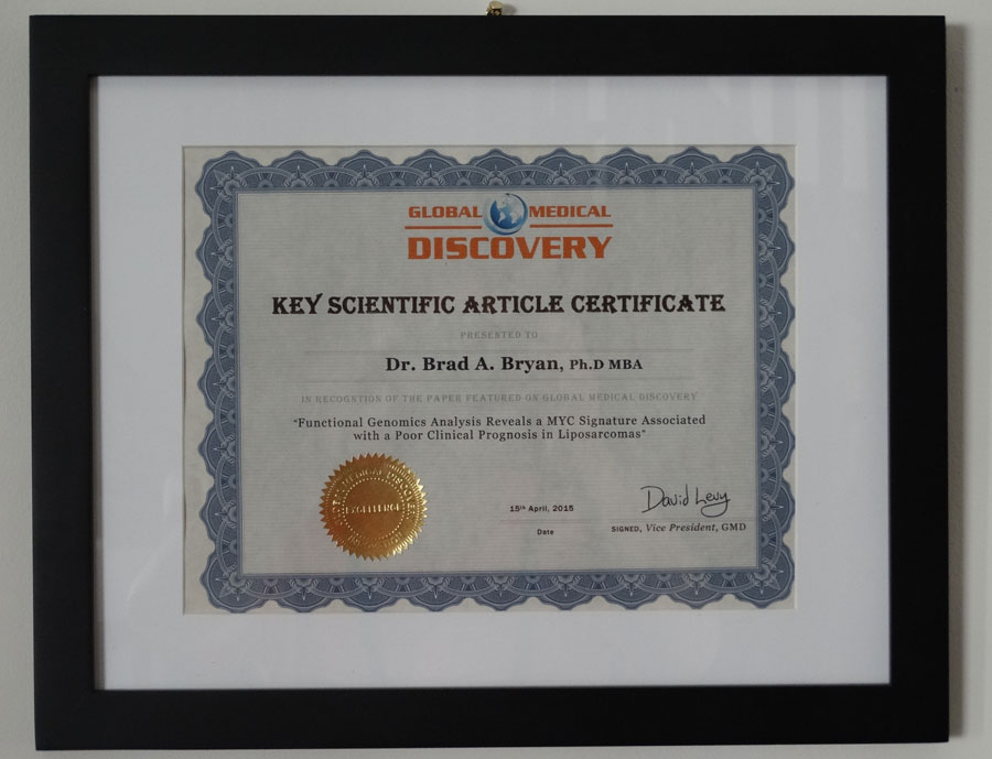 Global Medical Discovery Key Scientific Article Certificate recognize