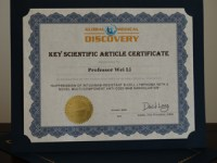 Global Medical Discovery Key Scientific Articles Certificate -