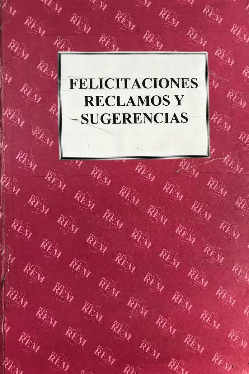 Libro felicitaciones reclamos sugerencias